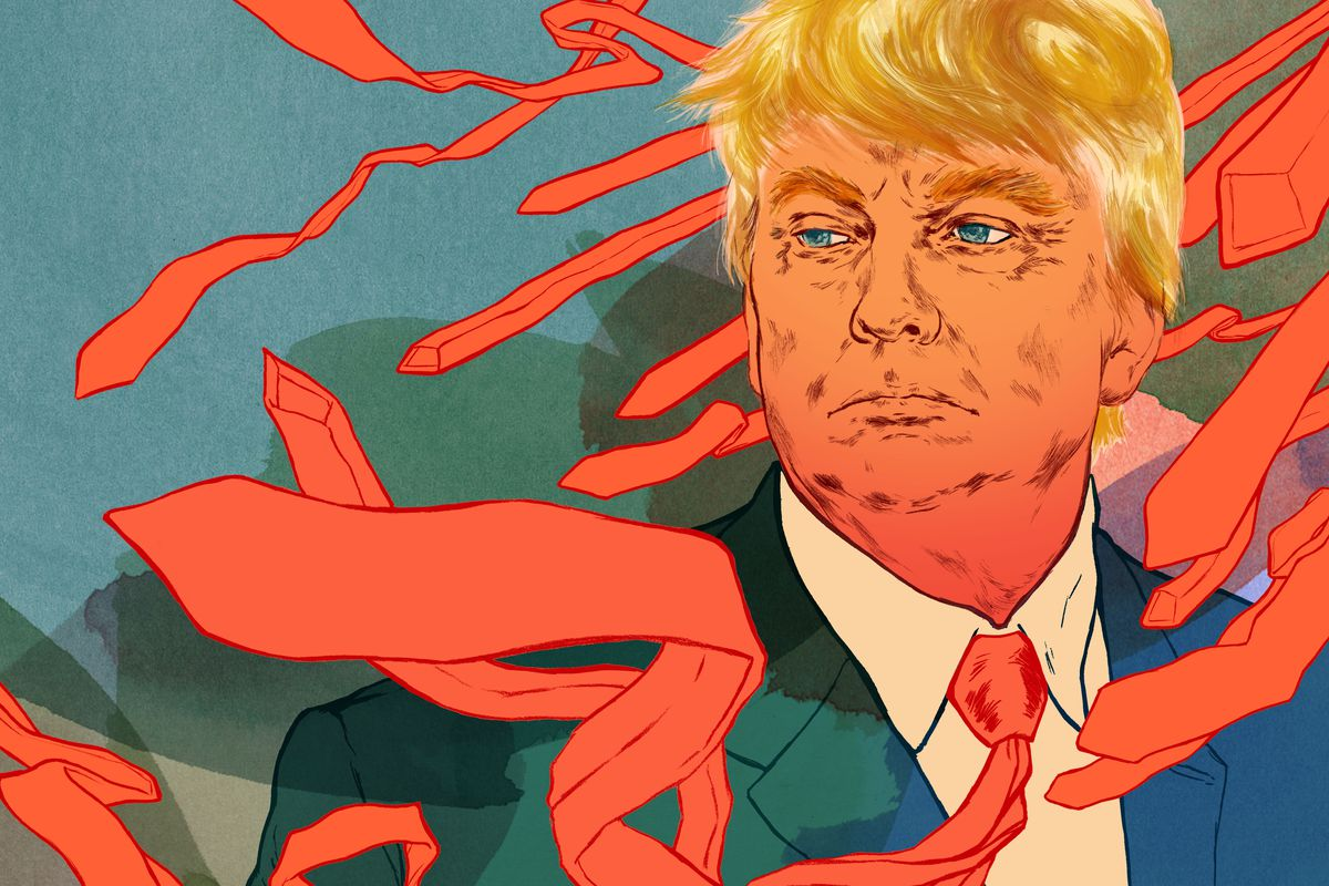 Illustration of Donald Trump wearing a tie, surrounded by ties