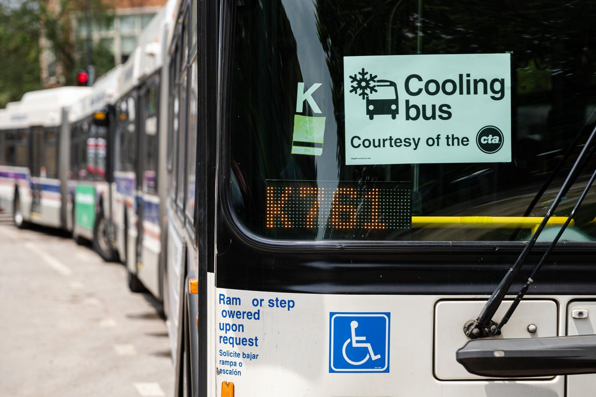 """The CTA provided air conditioned """"cooling buses"""" for Pitchfork Music Festival attendees on the first day of the music festival. Fans braved record-setting temperatures in Chicago, July 19, 2019."""