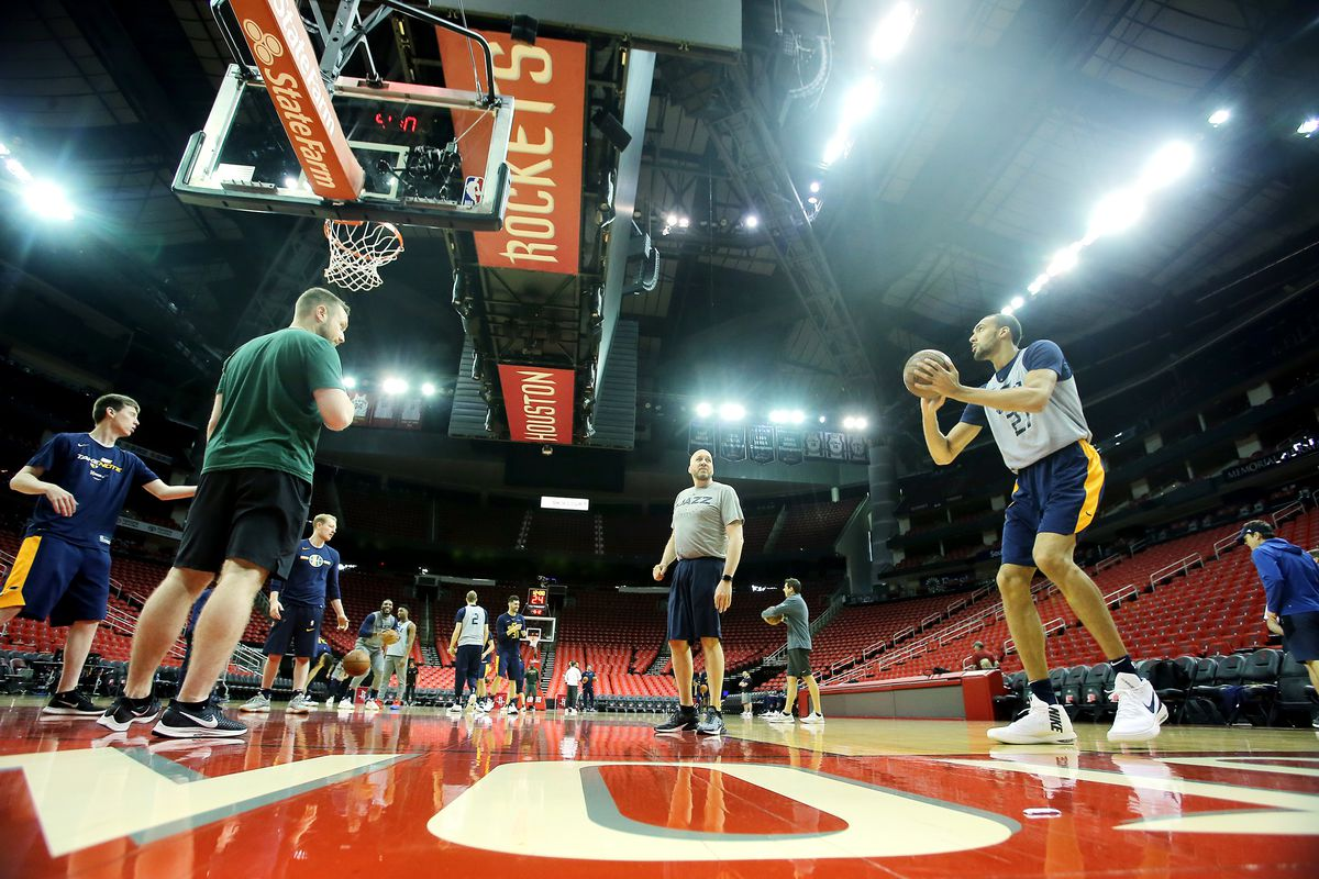 The Utah Jazz prepare to play the Houston Rockets in game one of the NBA playoffs at the Toyota Center in Houston on Sunday, April 14, 2019.