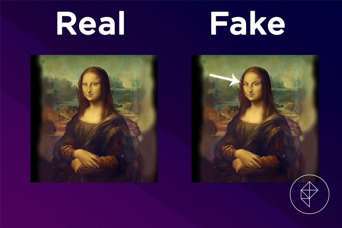 A comparison showing that the fake version of the Famous Painting has eyebrows.