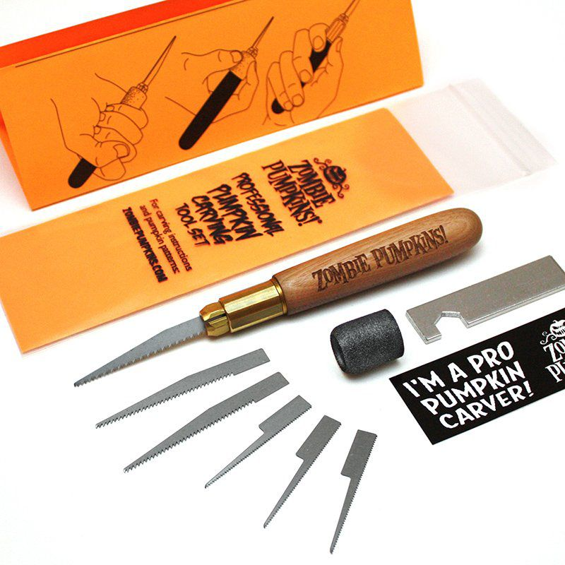 Parts in the zombie pumpkin carving tool kit includes a carving knife, multiple blade options, and a case.