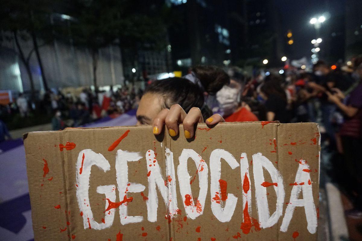 Anti-government protest in Sao Paulo