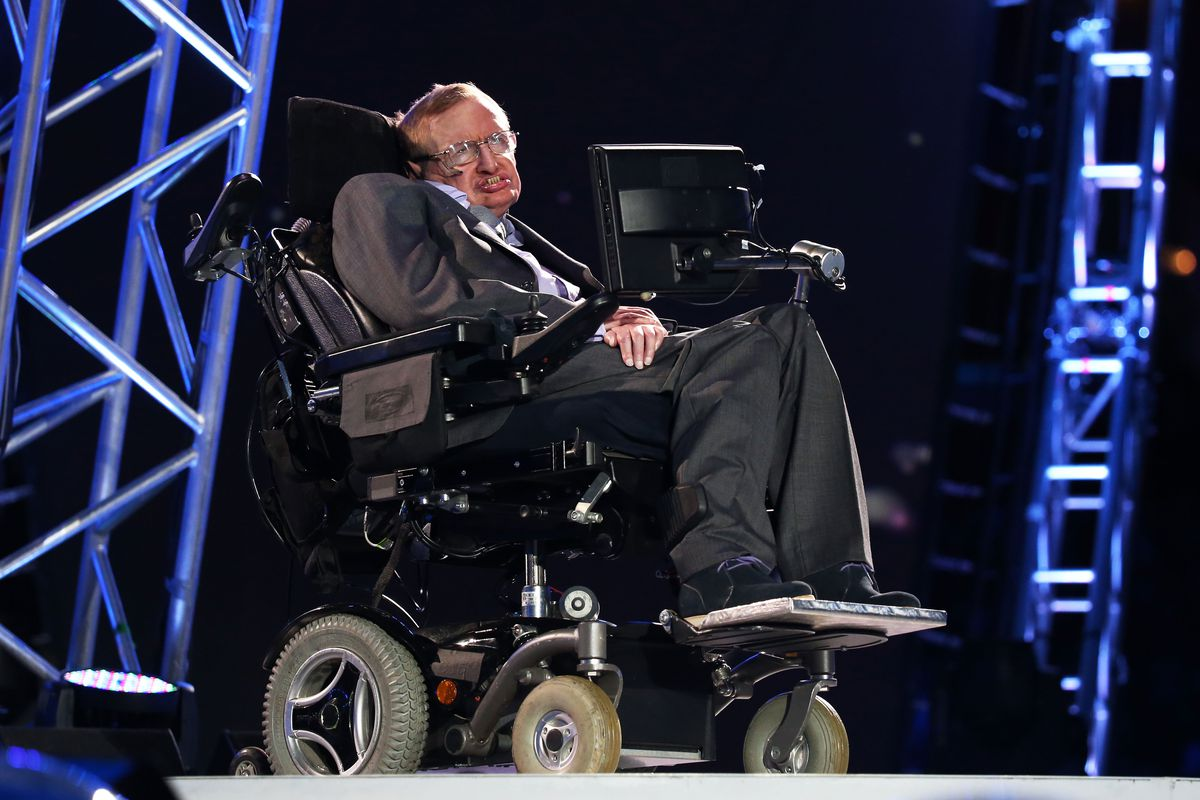 Professor Stephen Hawking speaks during the opening ceremony of the London 2012 Paralympics at the Olympic Stadium on August 29, 2012, in London, England.