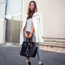 """Aimee of <a href=""""http://www.songofstyle.com""""target=""""_blank"""">Song of Style</a> is wearing an <a href=""""http://www.express.com/clothing/wool+blend+fit+and+flare+trench+coat/pro/8942420/cat2007?CID=550&pubname=rewardStyle&pubID=4441350""""target=""""_blank""""> Expr"""