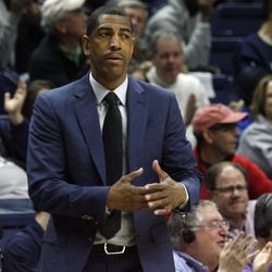 UConn head coach Kevin Ollie calls a timeout during the Columbia Lions vs UConn Huskies men's college basketball game at Gampel Pavilion in Storrs, CT on November 29, 2017.
