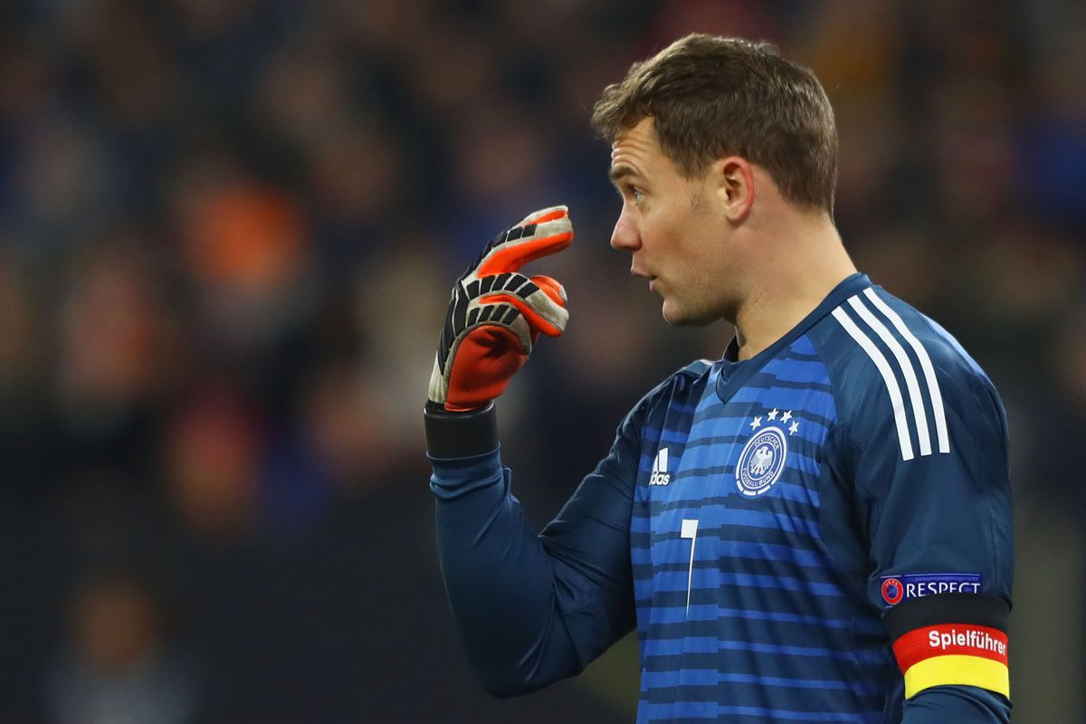 Germany v Netherlands - UEFA Nations League A GELSENKIRCHEN, GERMANY - NOVEMBER 19: Manuel Neuer of Germany reacts during the UEFA Nations League A group one match between Germany and Netherlands at Veltins-Arena on November 19, 2018 in Gelsenkirchen, Germany.