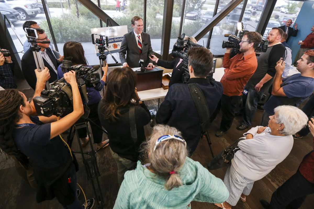 Rep. Ben McAdams speak to the press and the public about the impeachment inquiry following a town hall on aging adult and senior issues at the Midvale Senior Center in Midvale, Utah, on Friday, Oct. 4, 2019. McAdams stated he is in favor of an open inquiry but wouldn't support impeachment at the moment.