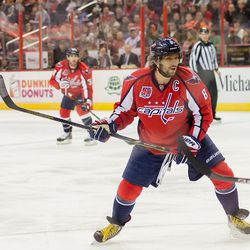 Ovechkin Waits For a Puck That Doesn't Come