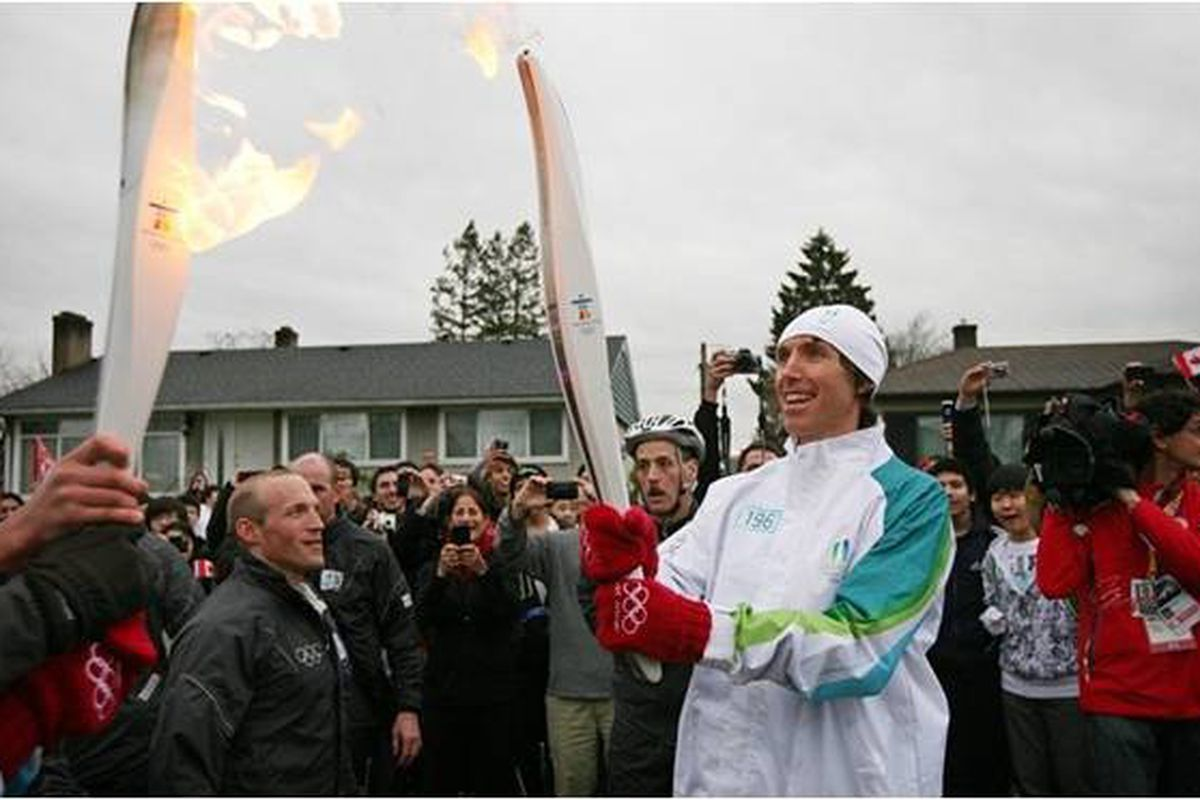 """Steve Nash looks pretty happy to be carrying a flame for Canada.  via <a href=""""http://www.facebook.com/?ref=home#!/BDAsports?ref=ts"""" target=""""new"""">BDA Sports Management Facebook Page</a>"""