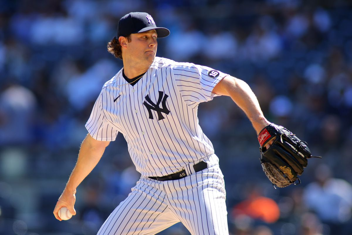 Gerrit Cole #45 of the New York Yankees in action against the Cleveland Indians at Yankee Stadium on September 19, 2021 in New York City.