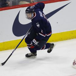 The Merrimack Warriors take on the UConn Huskies in a men's college hockey game at the XL Center in Hartford, CT on February 9, 2019.