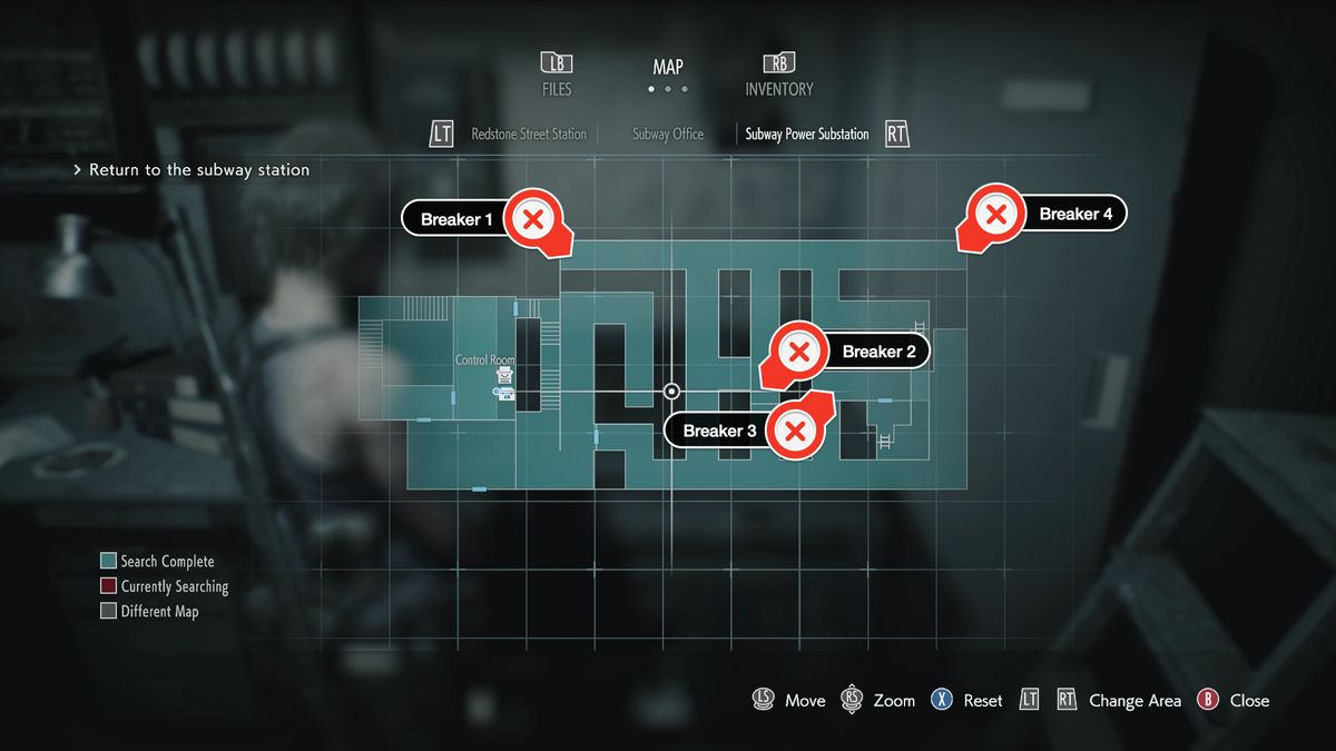 Resident Evil 3 Subway Power Substation circuit breakers locations map