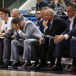 Brigham Young Cougars coaching staff after a foul call as BYU and Gonzaga play in an NCAA basketball game in the Marriott Center in Provo on Saturday, Feb. 24, 2018.