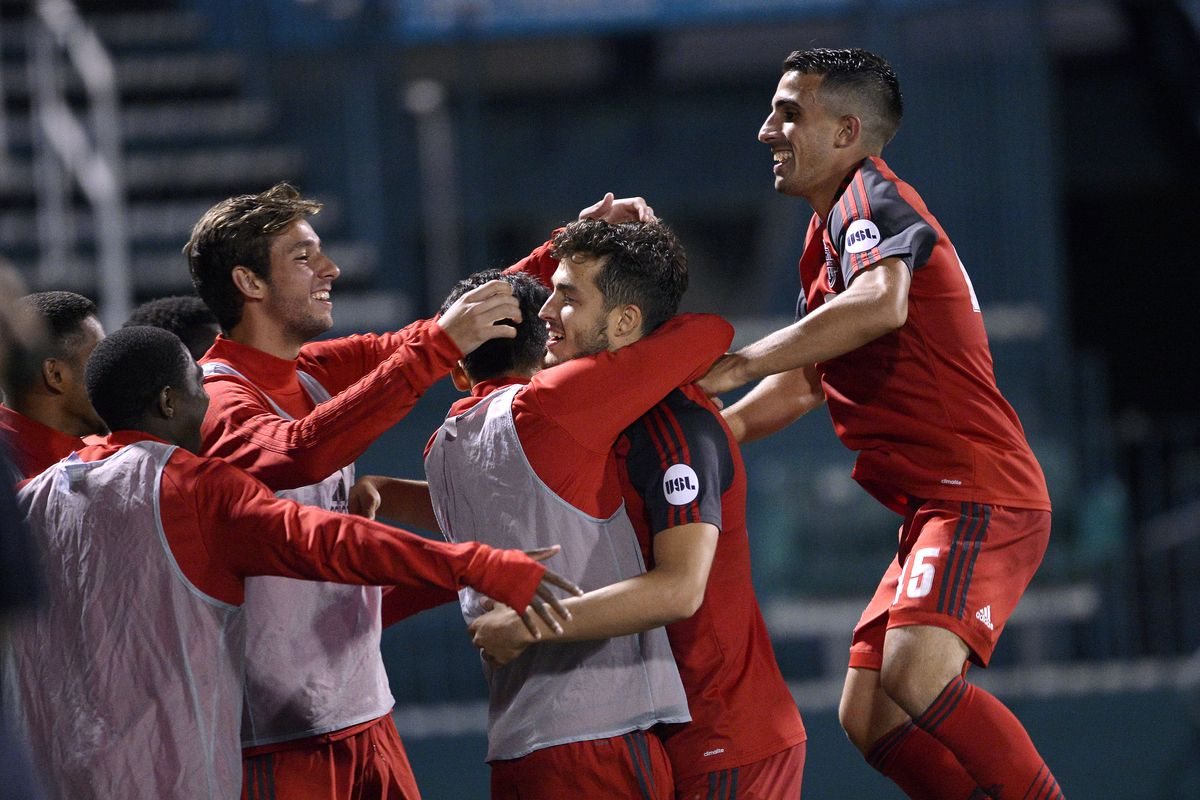 USL Photo - Toronto FC II celebrate Matt Srbely's goal in their 2-0 win over Nashville SC on Saturday night in Rochester