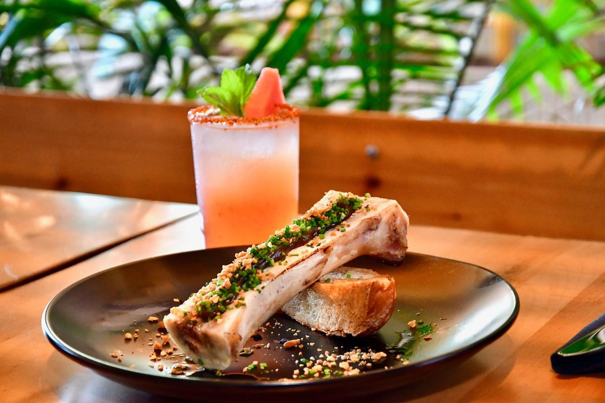 a plate of roasted bone marrow with a grapefruit-colored cocktail behind it