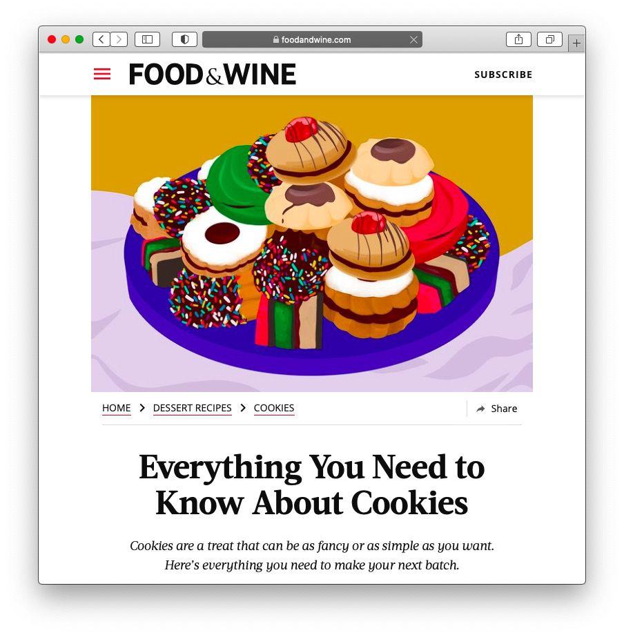 Screenshot of Food & Wine's cookie package landing page.
