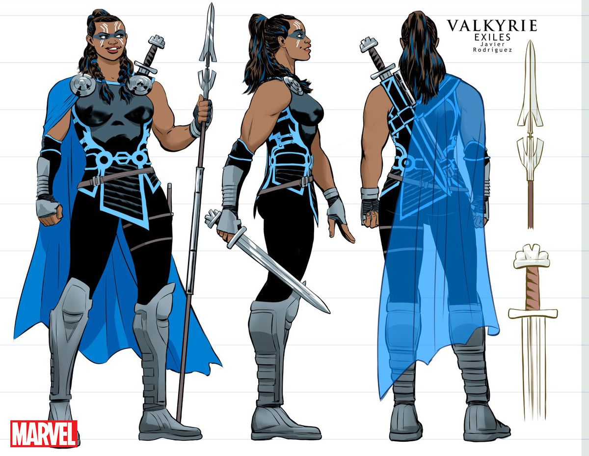 Javier Rodriguez's Marvel Cinematic Universe-inspired character design for Valkyrie. Exiles, Marvel Comics 2018.