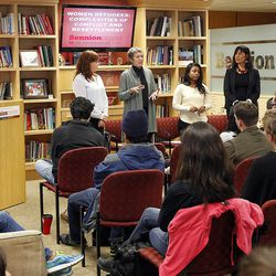 University of Utah students and guests listen to a forum on women refugees at the Lowell Bennion Community Service Center at the University of Utah in Salt Lake City on Tuesday, Dec. 8, 2015.