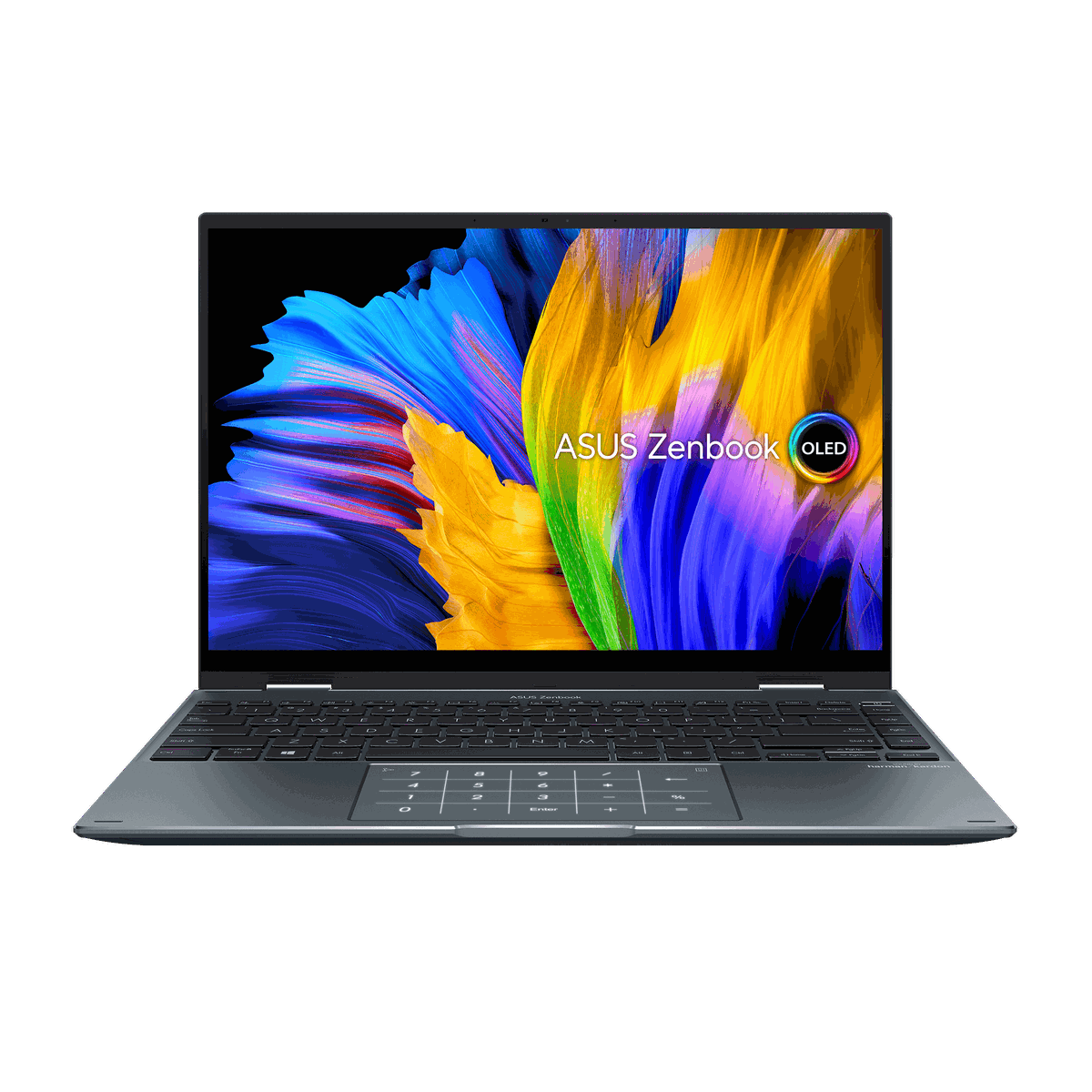 The Asus Zenbook Flip 14 OLED open facing the camera with the number pad illuminated. The screen displays a multicolored flower background with the Asus Zenbook OLED logo on the right side.