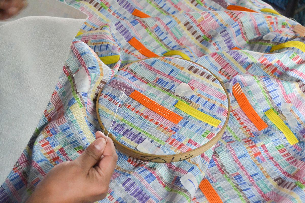 Artisan sewing fabric