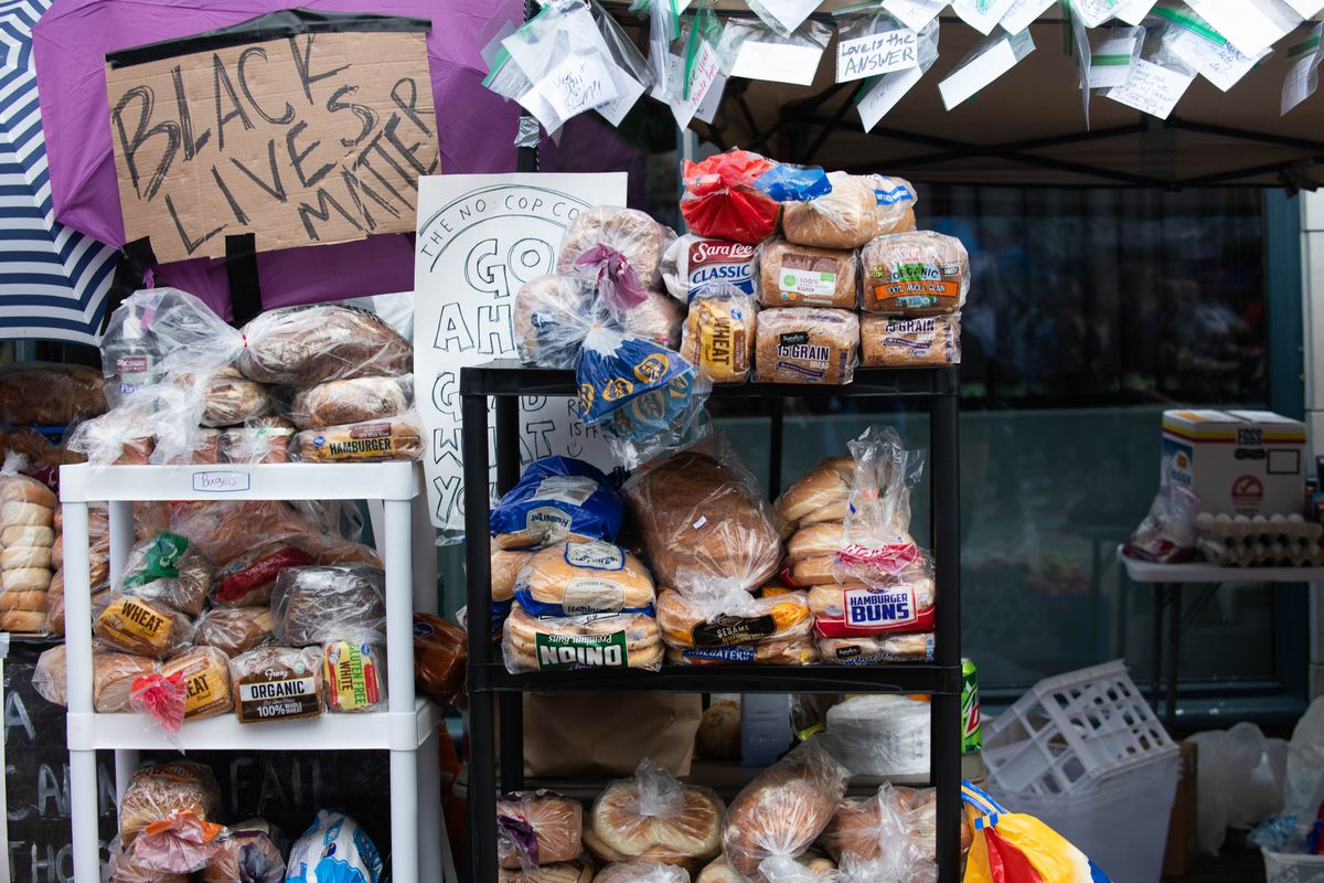Shelves of bread at the No Cop Co-op in Capitol Hill's CHOP/CHAZ