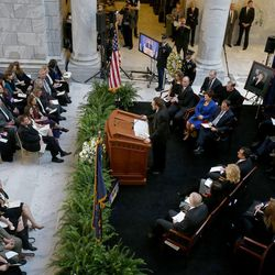 David Litvack, former minority leader of the Utah House, speaks at a public memorial service for former Speaker of the House Rebecca Lockhart in the Capitol rotunda in Salt Lake City on Thursday, Jan. 22, 2015. Lockhart died at her home in Provo on Jan. 17, 2015, from a rare brain disease.