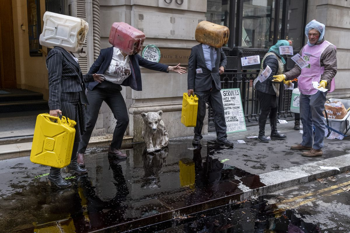Extinction Rebellion Shipping Oil Protest In London