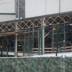 11:57 a.m. Scaffolding along the west side of the ballpark -
