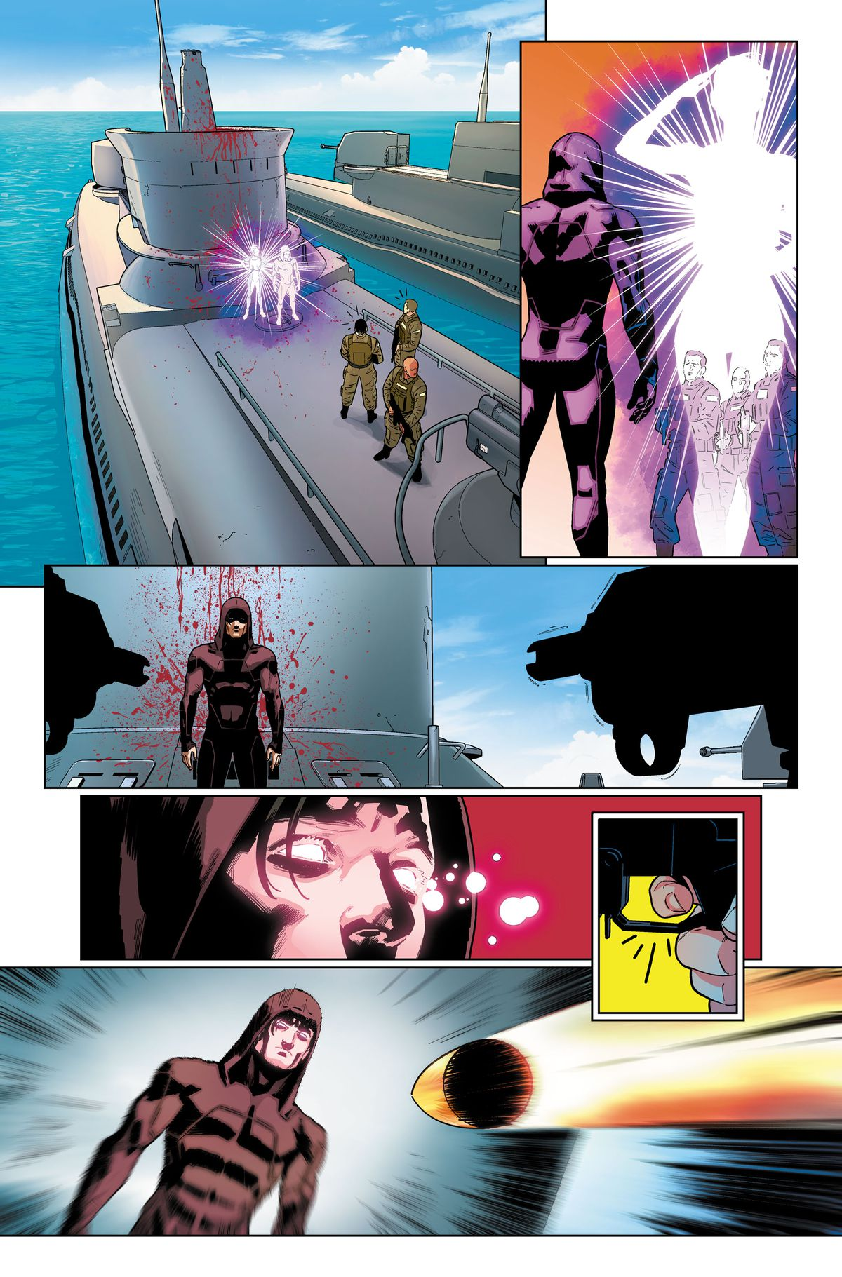 Blink teleports T.N.Teen to the deck of the submarine, and then teleports away. Navy soldiers fire a single bullet at T.N.Teen, in an unlettered page from Suicide Squad #1, DC Comics (2019).