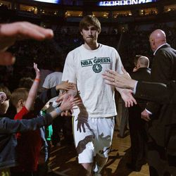 Gordon Hayward of the Utah Jazz is introduced at the beginning of the game against Minnesota in Salt Lake City on Friday, April 12, 2013.