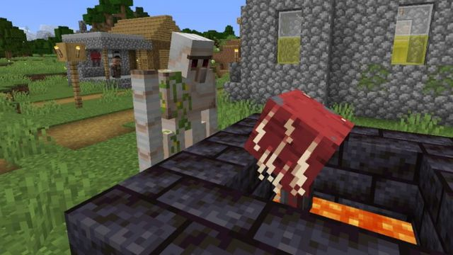 Minecraft - an Iron Golem stands in a village, looking down on a red Strider who is resting in a stone lava pit.