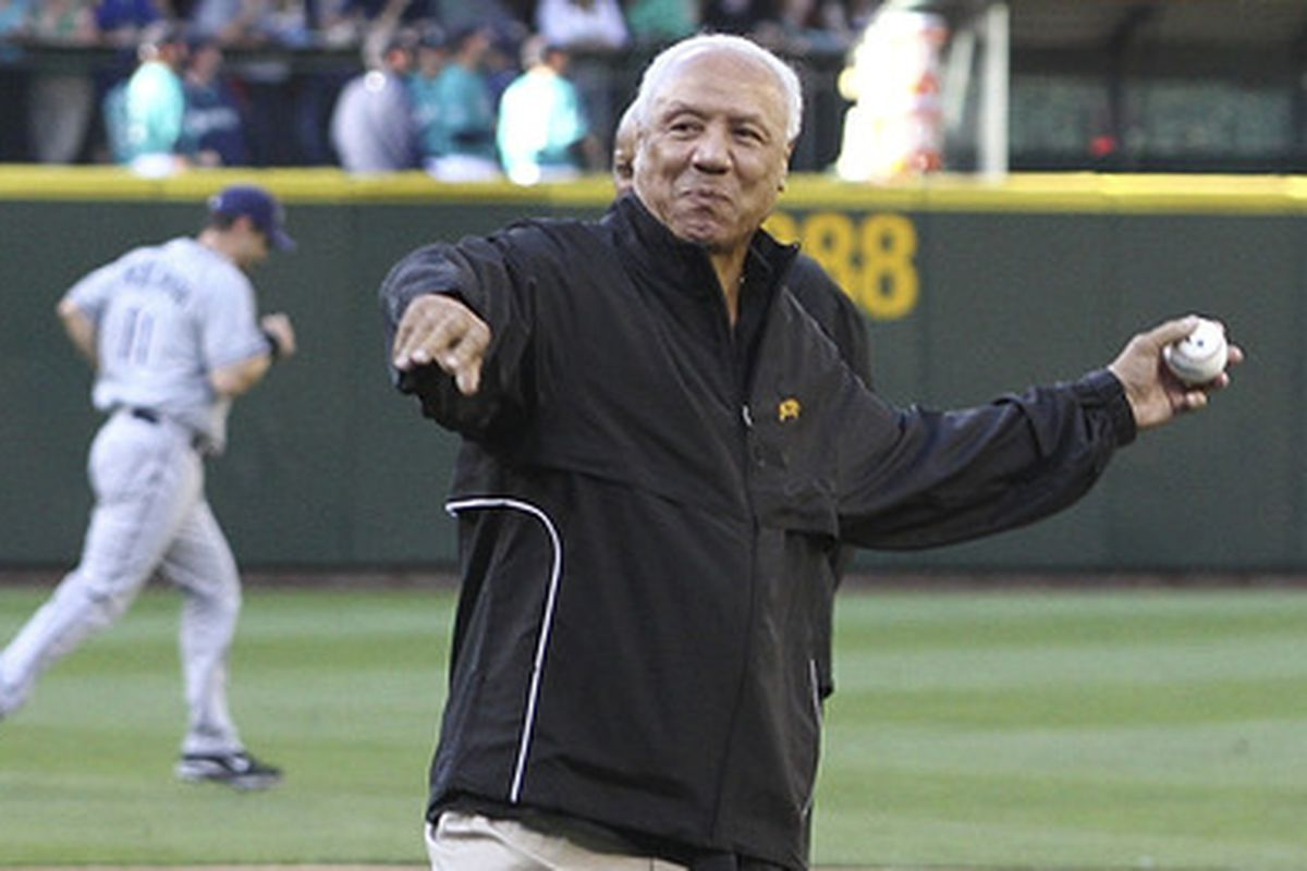 Lenny Wilkens throws out the first pitch at Sonics Celebration Night, hosted by the Mariners, July 29, 2011