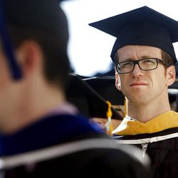 Brigham Wilson walks into the Marriott Center for Spring Commencement Exercises at BYU Thursday, April 19, 2012.