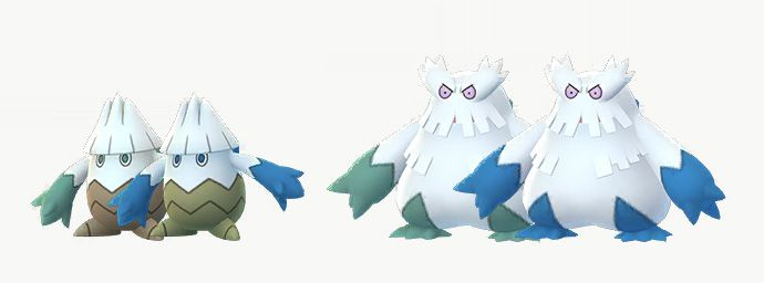 Shiny Snover and Abomasnow stand with their regular forms
