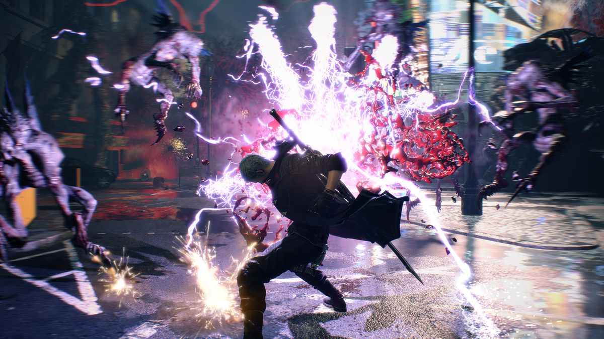 Dante executing an electric attack in Devil May Cry 5