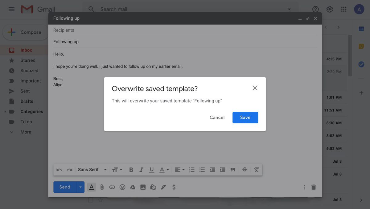 Overwrite saved template window