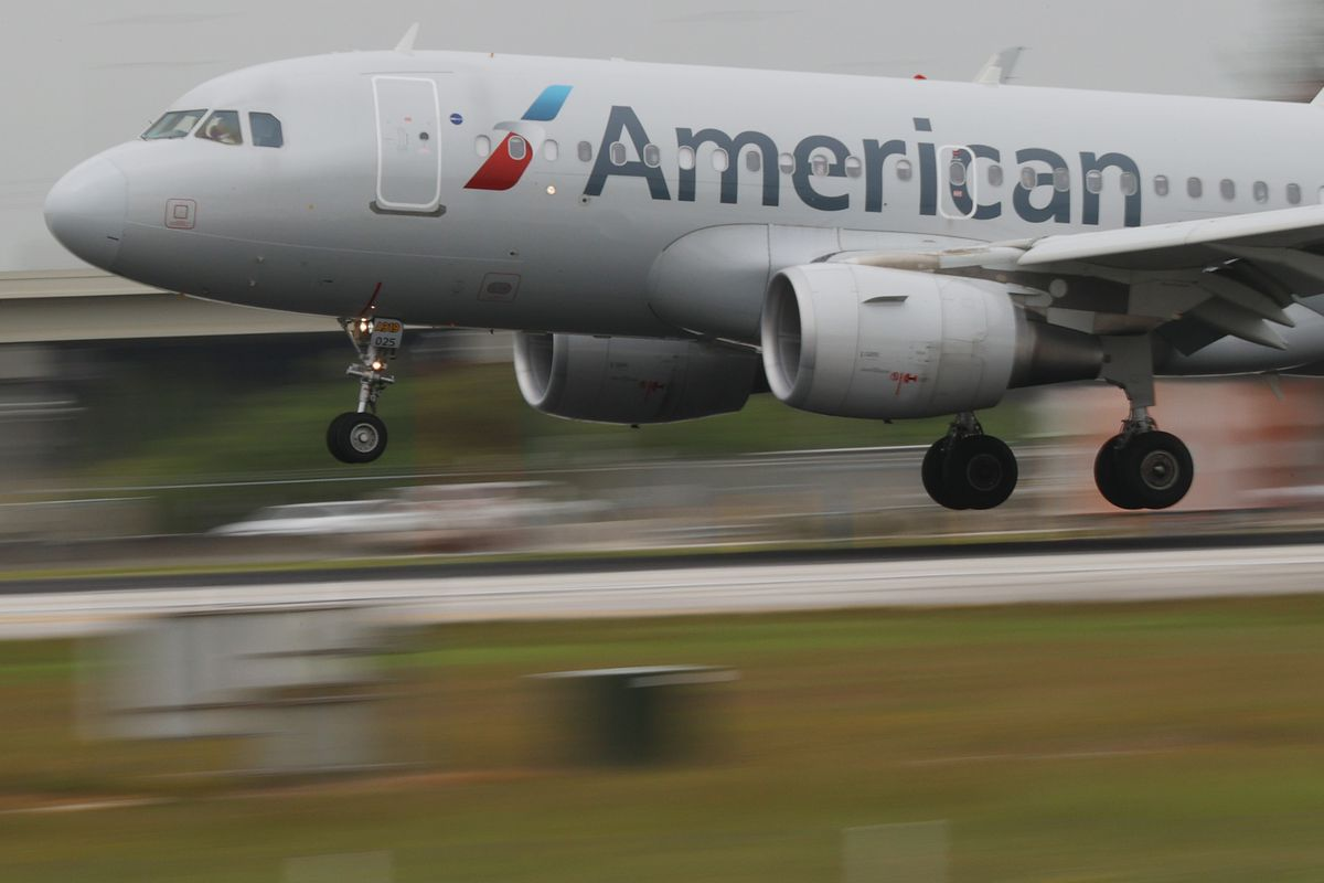 An American Airlines plane prepares for takeoff