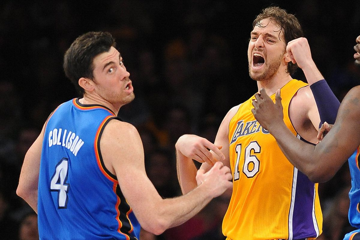 The sound waves emitted from Gasol's mouth blow Nick Collison away!