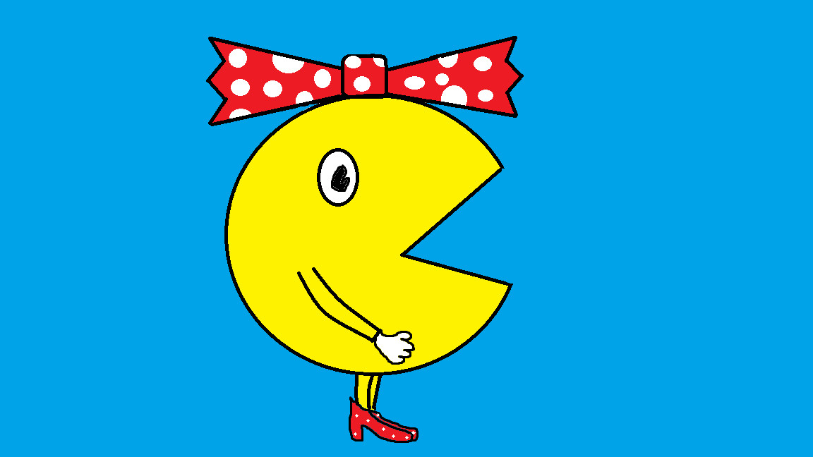 Ms. Pac-Man in profile, wearing a red bow and red high heels with white polka dots