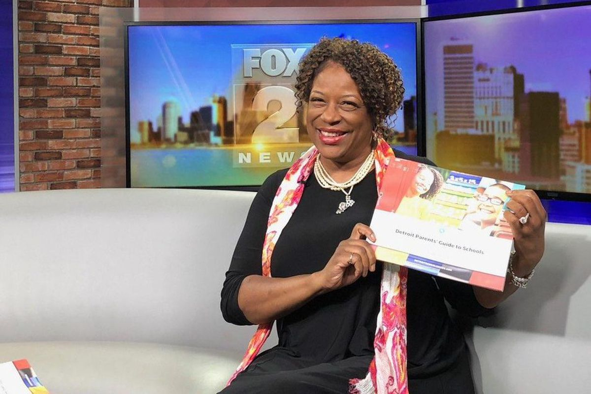 Monique Marks, chair of a new mayoral commission, showed off the group's Detroit schools guide in an appearance on local television. Future editions of the guide will include letter grades for every school.