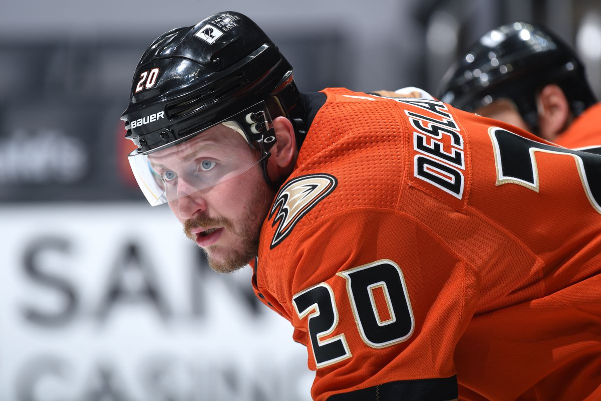 Nicolas Deslauriers #20 of the Anaheim Ducks looks on during the second period at STAPLES Center on April 28, 2021 in Los Angeles, California.