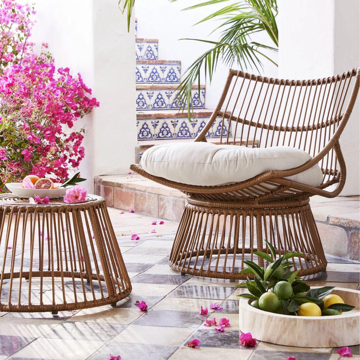 Bowl-shaped chair.
