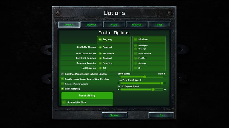The control options menu in Command Conquer Remastered