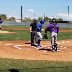 Aramis Ademan crossing the plate after his home run