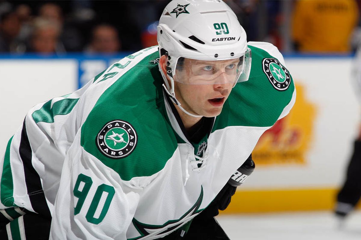 Jason Spezza #90 of the Dallas Stars skates against the New York Islanders at the Nassau Veterans Memorial Coliseum on October 25, 2014 in Uniondale, New York. The Islanders defeated the Stars 7.5.