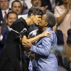 Lori Lightfoot celebrates with her wife, Amy Eshleman, after being sworn in as mayor of Chicago.