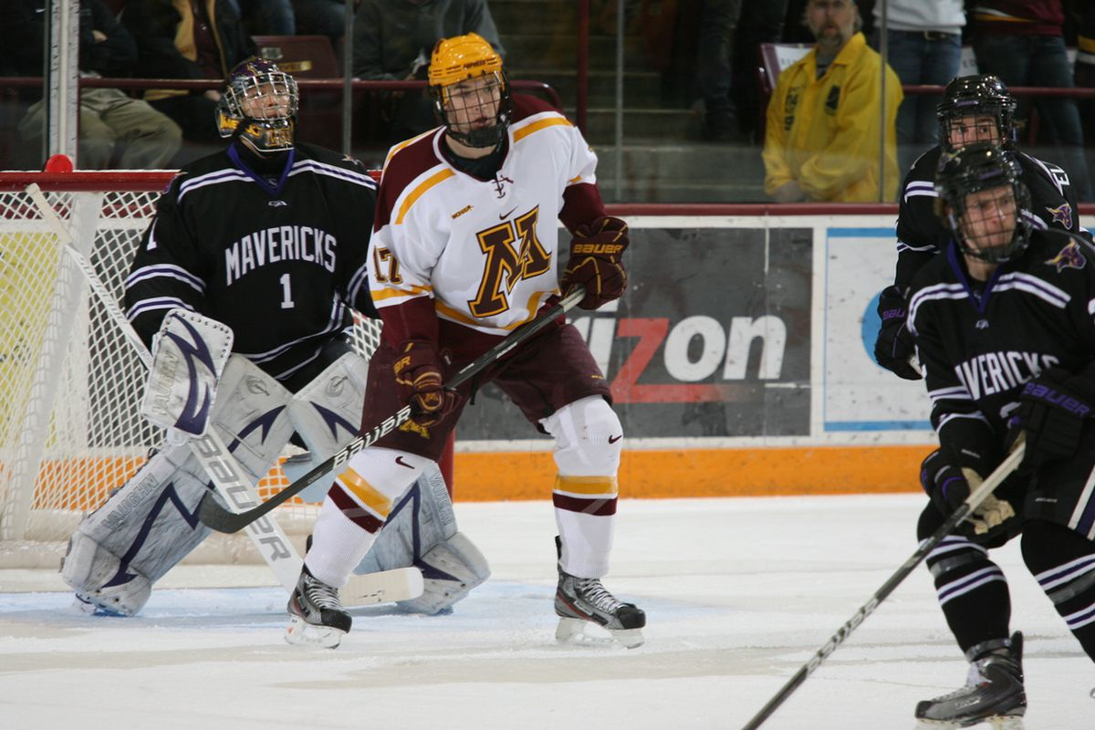 Seth Ambroz scored 2 goals in Minnesota's 4-1 win over rival Wisconsin