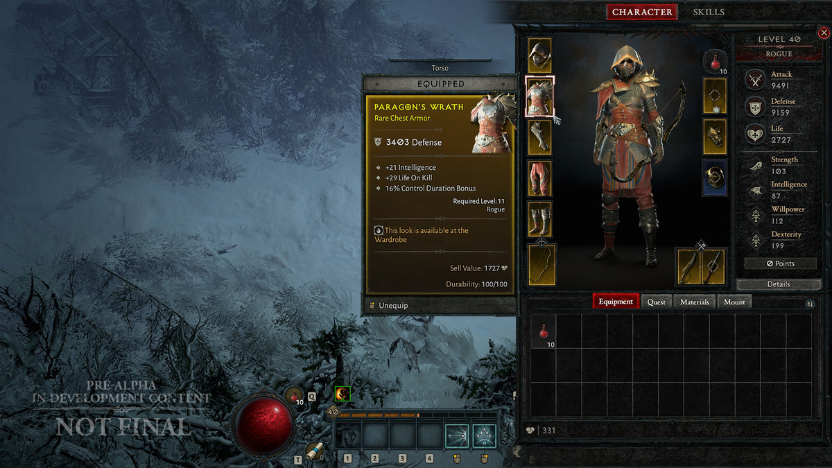 The gear screen for the Diablo 4 Rogue