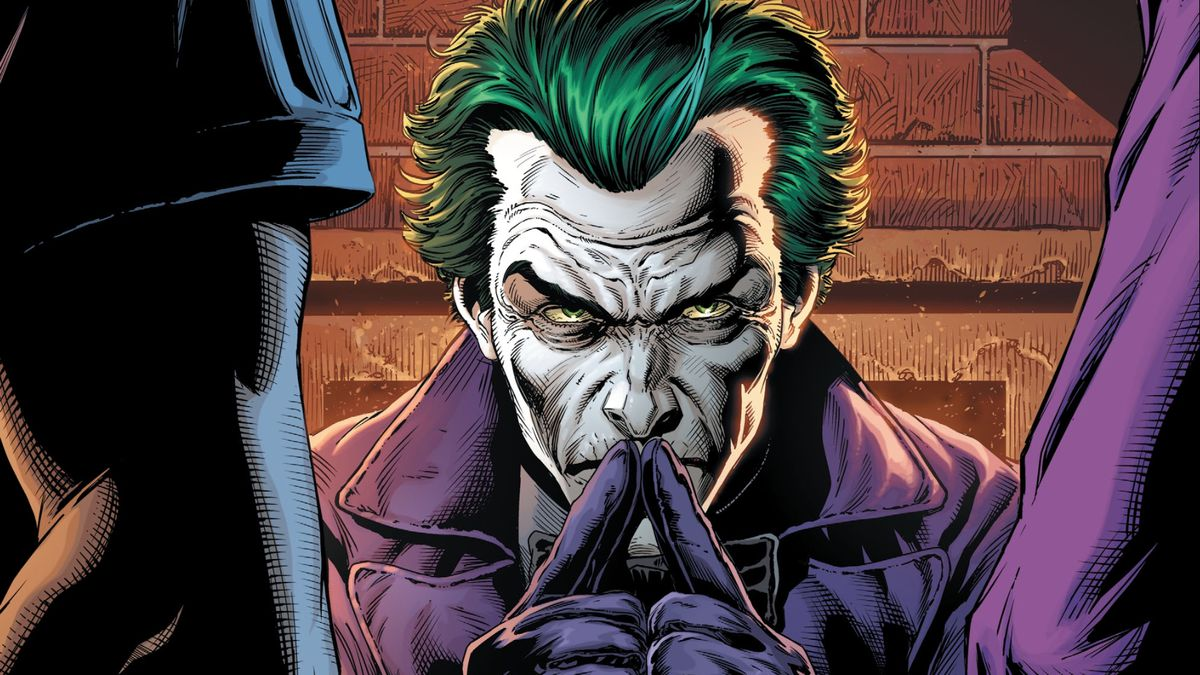 The Joker sits at a table, fingers steepled. Two figures stand in front of him, in Batman: Three Jokers #1, DC Comics (2020).