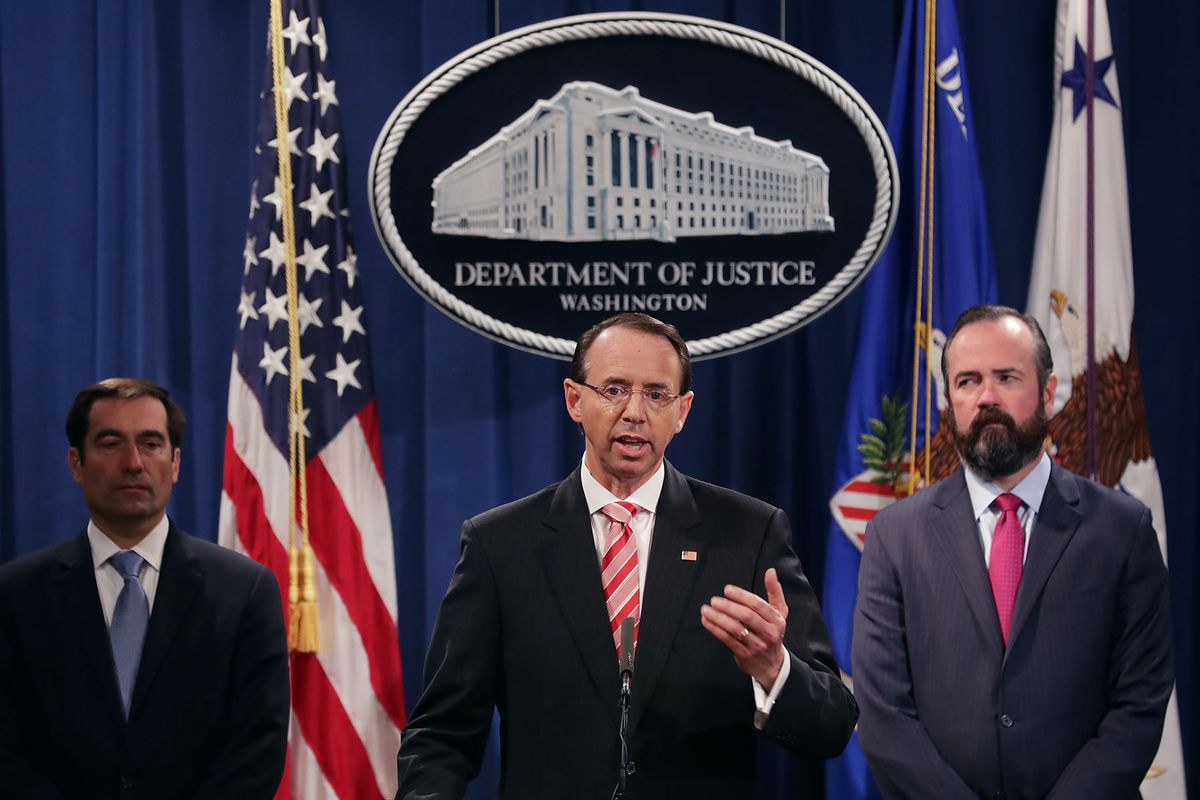 Rosenstein announces the indictment of 12 Russian intelligence officers in connection with election-related email hacking in July 2018.